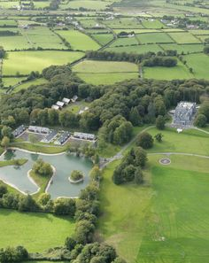 A overhead view of Mount Falcon Estate shows the fisheries, leisure centre and private lodges
