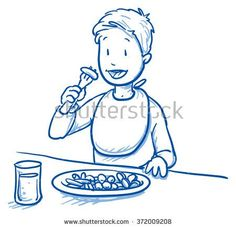 Cute little boy eating his meal. Hand drawn cartoon doodle vector illustration.