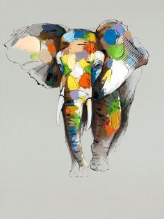 Part of a collection of oil paintings Raj is contemplating for arrival this fall. Like if you'd like to hang this colourful elephant in your home!