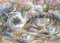 """Teacup Teapot Tea and Lilacs tea party """"TEA AND LILACS"""" by Laurie Shanholtzer on Etsy"""