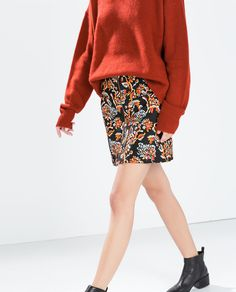 ZARA - SALE AW.14 - PRINTED SKIRT WITH A FRONT ZIP