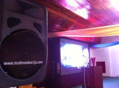 Servicios de Video y Sonido para Eventos Cosporativos, pantalla LED indoor P7 y sistemas de sonido JBL.