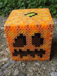 I love pumpkins, Minecraft pumpkins especially because they are cubes.and I like cubes. This pumpkin is awesome because see th. Minecraft Jack o Lantern nightlight 3d Perler Bead, Perler Bead Templates, Pearler Bead Patterns, Perler Patterns, Pearler Beads, Fuse Beads, Jack O Lantern Minecraft, Minecraft Beads, Minecraft Perler