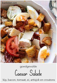 Mijn Caesarsalade – De K van Koken Parmigiano Reggiano, Dressings, Mashed Potatoes, Bacon, Avocado, Ethnic Recipes, Food, Salads, Tomatoes