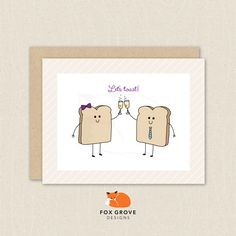 Ships Free / Cute toast Let's Toast greeting card by FoxGroveDesigns, $6.00