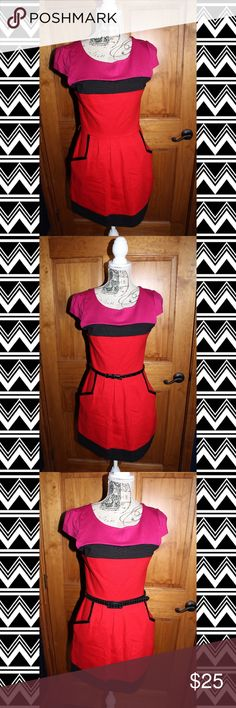 Colorblock Dress Adorable pink, red and black dress. Could be paired with a thin black belt or a patterned belt. Belts pictured are not included. Perfect for valentines day or edgy business attire. Size 7. Worn once. Sequin Hearts Dresses Mini