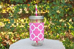Hot pink quatrefoil mason jar tumbler! Free monogramming included!! #monogrameverything Check out this item in my Etsy shop today!! https://www.etsy.com/listing/199623971/mason-jar-tumbler-24-oz-mason-jar-to-go
