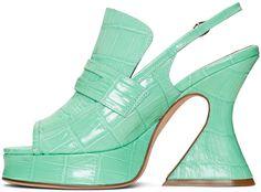 Sies Marjan - Green Croc Ellie Loafer Heels