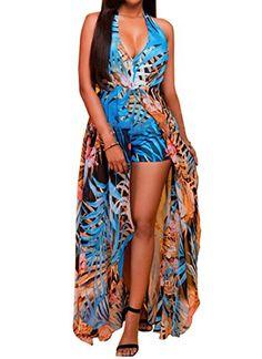Women Halter V Neck Digital Print Maxi Dress Overlay Jumpsuit Romper Playsuit ** Learn more by visiting the image link.
