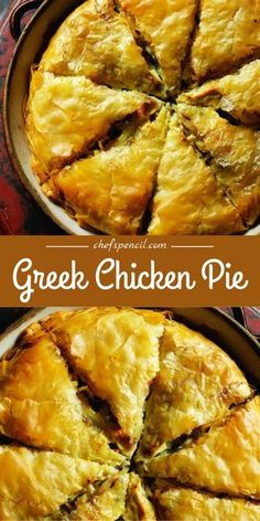 This sensational Greek chicken pie was discovered by Rick Stein in a mountain village in the Zagori region of Greece. Duck Recipes, Chef Recipes, Greek Recipes, Chicken Recipes, Cooking Recipes, Chicken Meat Pie Recipe, Greek Meat Pie Recipe, Sandwich Toaster, Chefs