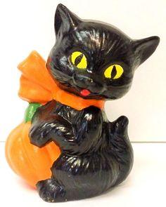 Vintage Ceramic BLACK Halloween CAT.