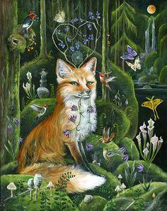 janie olsen prints for sale Art And Illustration, Fuchs Illustration, Fantasy Kunst, Fantasy Art, Art Fox, Lunar Magic, Art Et Nature, Art Fantaisiste, Art Populaire