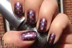 Hologlam Polka Dot nail art by LacqLustre. Simple idea, but very cute.