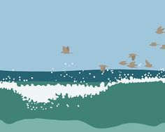 A flock of sparrows and surprisingly big surf at Duxbury beach.