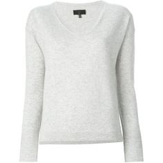 Nili Lotan V-Neck Sweater ($760) ❤ liked on Polyvore featuring tops, sweaters, grey, grey sweater, gray sweater, gray v neck sweater, cashmere sweaters and grey v neck sweater