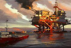 Oil rig sketch! So much fun  #art #instaart #darekzabrocki #oilrig #oil #industry #design #conceptart #illustration #painting #sunset #sky #picoftheday