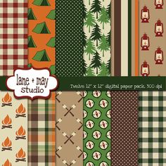 camping themed digital scrapbook papers by laneandmay on Etsy, $7.00