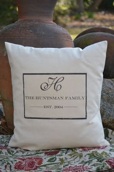 18 x 18  Traditional Personalized Pillow Cover with Family Name, Inital and Establishment date. $24.00, via Etsy.