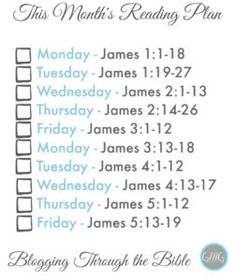 Bible Reading plan from Good Morning Girls and Women Living Well FREE Printables, Read Through the Bible, Bible Study, Women's Bible Study, Good Morning Guys , The Book of James Bookmark @Women Living Well