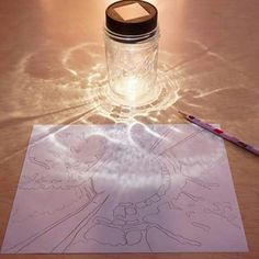 SHADOW TRACING Have you ever tried this? An amazing drawing prompt for kids and adults! http://tinkerlab.com/mason-jar-shadow-drawing-prompt/