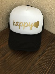 93a23c8348df9 Happy With Heart Image Mesh Trucker Hat Happy Hat Custom Made To Order You  Choose Print Color
