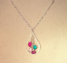 Sterling Silver Teardrop Necklace with 1-6 Birthstones - Mothers, Grandmothers - 2 Only