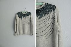 vintage SEQUINS & BEADED heathered knit ABSTRACT sweater. size s m l.. , via Etsy.