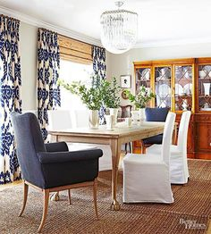 Indigo is reminiscent of a favorite pair of comfy blue jeans, but dark enough to be sophisticated. Like jeans, it's a go with almost anything color. Here, it plays out with wood tones and white.