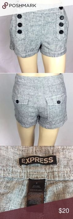 """🔥☀️Express Sailor Shorts Size 4 Black & White💙 Express Sailor Shorts  Size 4  29"""" waist  Length 11.5""""  Black and White  Linen Blend  Women's  2 front and 2 rear pockets  8 button front  The shorts are in good condition. Thank you for viewing this listing! Express Shorts"""