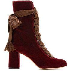 Chloé Harper Velvet Boots ($1,610) ❤ liked on Polyvore featuring shoes, boots, velvet boots, velvet shoes, chloe shoes, chloe boots and bordeaux shoes