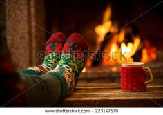 fire place, socks and coffee