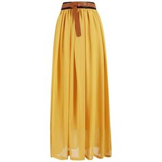 High Waisted Chiffon Maxi Skirt ($25) ❤ liked on Polyvore featuring skirts, yellow, long skirts, high-waisted maxi skirt, long yellow skirt, high-waisted skirts and chiffon skirts
