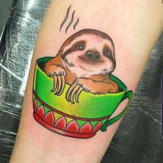Flash The Sloth, Tattoo Ideas Tumblr, Sloth Tattoo, Cute Tattoos, Tatoos, Ink Instagram, Coffee Tattoos, London Tattoo, Colour Tattoo