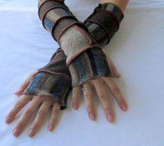 Fingerless Gloves Recycled Sweater Arm Warmers Woodland Wool Armwarmers Sweaters Upcycled Sweaters by ThankfulRose on Etsy