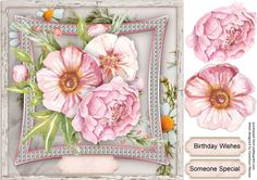 Beautiful Roses on Pink Bevelled Frame - CUP727698_1398 | Craftsuprint
