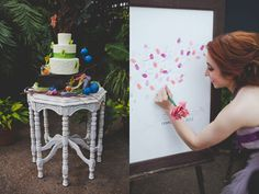 Thumb print as a guest book! They just sign there name next to there thumb.