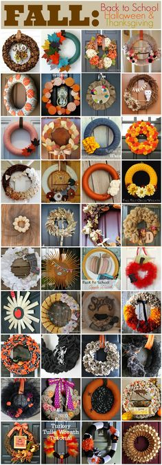 160 Best Wreath Tutorials for every season and holiday - from Becoming Martha wreath tutorial fall, winter, spring, summer Thanksgiving Crafts, Fall Crafts, Crafts To Make, Holiday Crafts, Arts And Crafts, Diy Crafts, Wreath Crafts, Diy Wreath, Door Wreaths