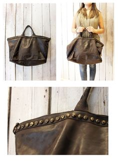 SHIP BAG 13 Handmade Italian Vintage Leather Tote  with studs di LaSellerieLimited su Etsy