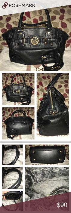 """Michael Kors Hudson Satchel MK Hudson! Gorgeous black pebbled leather bag is Logo lined, 1 zip, multiple slip pockets, strap for shoulder or crossbody option (I never used it) double rolled handles (drop is 5.5"""") bright gold and shiny hardware not a scratch except for feet! The only wear on this bag, the bottom corners as shown in pic 4, one corner, bottom right front you can see the piping. It looks big in pics because I had to get close to show it but yes it's there, measures 15 X 10 X 4…"""