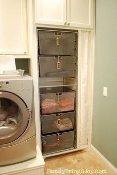 Love these laundry room shelves with stacking wire baskets for each person's clean laundry to be put away.