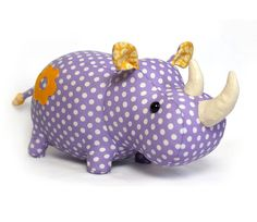 Adorable Rhino to sew yourself. He is so round and cute, very huggable!  The rhino on the photo is made from cotton and felt. The pattern is suitable