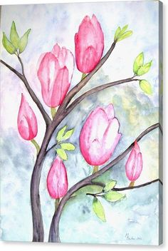 Pretty Pink Magnolias On Pastel Blue Canvas Print 16x20 Inch New
