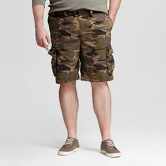 Men's Big & Tall Belted Flat Front Chino Shorts 11.5 - Mossimo Supply Co. Camo (Green)