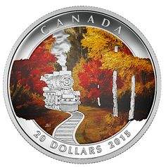 Canada 20 Dollars Silver Coloured Coin 2015 Autumn Express To truly explore Canada is to experience a host of breathtaking, ever-chan. Canadian Coins, Canadian History, Canadian Flags, Penny Auctions, Coin Art, Silver Bullion, Proof Coins, World Coins, Rare Coins