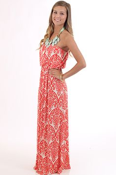 Coral Maxi Dress from Mint Julep Boutique