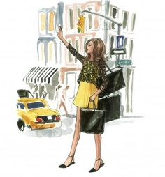 Fall in New York: The September Calendar Girl Story (Inslee By Design - The Sketch Book) Portrait Illustration, Watercolor Illustration, Ecole Art, Calendar Girls, Girly, Fashion Sketches, Fashion Illustrations, Fashion Art, Silhouette