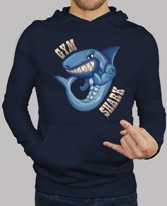 Sudadera Gymshark Ilustración digital de un tiburon musculoso, fuerte  y malote. Si eres un tio duro te recomiendo este diseño. Ideal también para llevar al gimnasio.