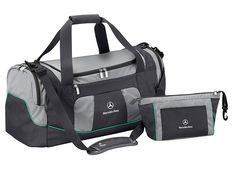 Part number:     B67995248  Practical, roomy and well designed: this sports bag features a large main compartment,  a separate washbag, a front pocket and two zipped side pockets.  There is also a compartment for wet clothes inside. Petronas green piping contrasts attractively with the subtle anthracite and silver-coloured design.