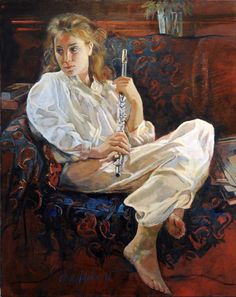 """Inga with Flute, oil painting by Chris Duke. """"Inga practiced flute for hours a day when she was younger; that time was fun to commemorate. I also loved the reference photos I took of Inga in her satiny nightgown."""""""