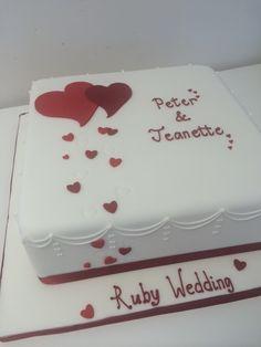 Ruby wedding anniversary cake